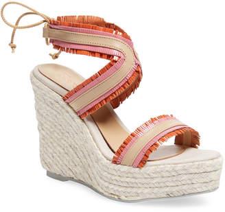 Manebi Espadrille Leather Wedge Sandal