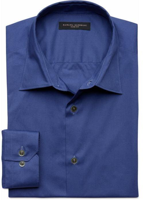 Slim fit stretch poplin dress shirt