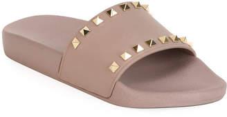 Valentino Rockstud Pool Slide Sandal