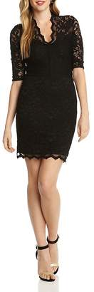 Karen Kane V-Neck Scalloped Lace Dress