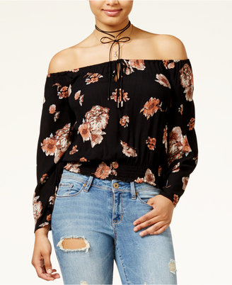 American Rag Juniors' Off-The-Shoulder Cropped Peasant Top, Created for Macy's $49.50 thestylecure.com