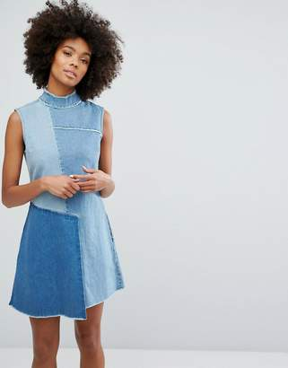 Waven Denim High Neck Dress with Contrast Panels and Fraying $87 thestylecure.com