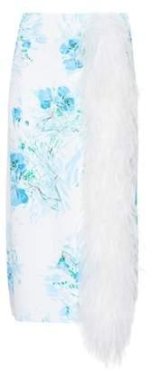 Prada Exclusive to mytheresa.com – feather-trimmed silk skirt