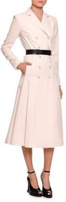 Bottega Veneta Double-Breasted Coat Dress w/Leather Belt, White/Black
