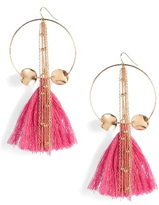 Women's Ettika Tassel Hoop Earrings $35 thestylecure.com