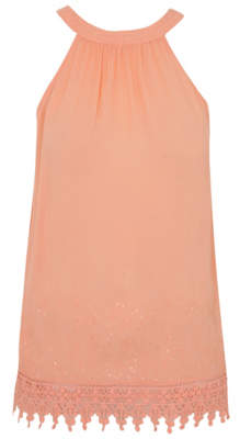 George Coral Embroidered Trapeze Top