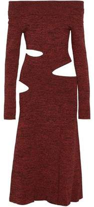 Proenza Schouler Off-The-Shoulder Cutout Marled Stretch-Knit Midi Dress
