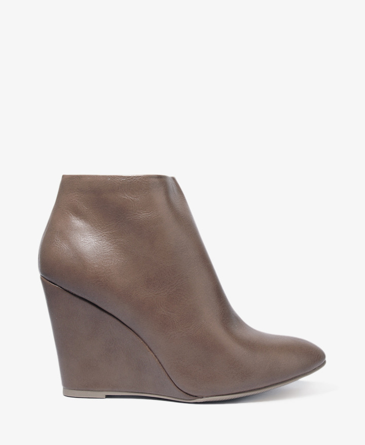 Forever 21 Faux Leather Wedge Booties