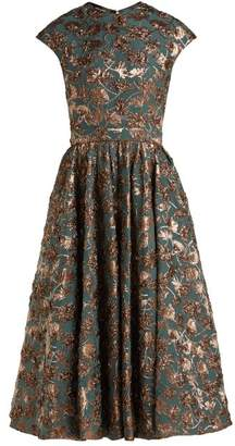 Rochas - Metallic Floral Brocade Dress - Womens - Green Multi