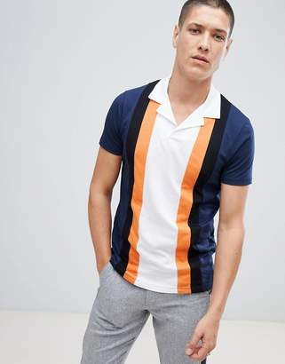 Asos Design Polo Shirt With Retro Vertical Panels And Revere Collar
