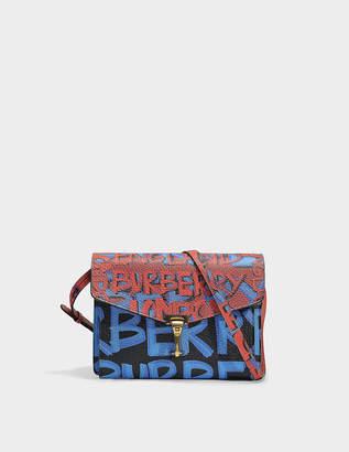 Burberry Small Macken Graffiti Bag in Black Leather Graffiti Print