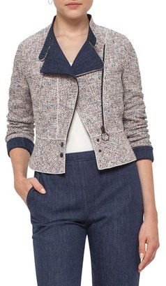 Women's Akris Punto Tweed & Denim Moto Jacket $1,390 thestylecure.com
