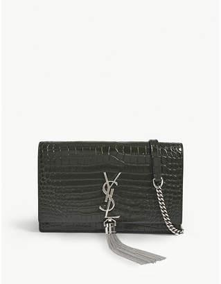 Saint Laurent Kate crocodile-embossed leather wallet-on-chain