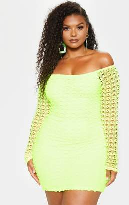 de5855af11 PrettyLittleThing Plus Neon Yellow Crochet Bardot Bodycon Dress