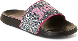 968d721388bb Juicy Couture Toddler Kids Girls) Silver Hollywood Glitter Slide Sandals