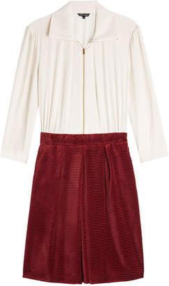 Tara Jarmon Cotton Dress with Corduroy Skirt