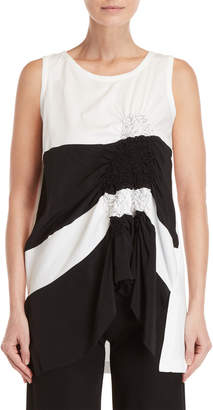 Pierantonio Gaspari Color Block Ruched Detail Sleeveless Tank