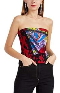 Versace Women's Mega Mix-Print Silk Crepe Bustier