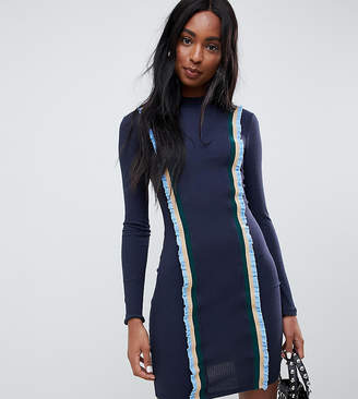 Glamorous Tall fitted sweater dress with constrast trim