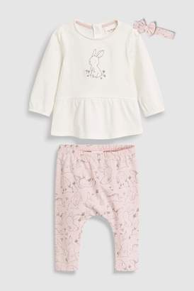Next Girls Pink/Cream Bunny T-Shirt