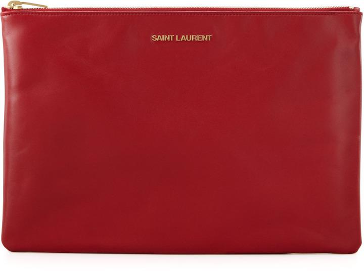 Saint Laurent Letters Medium Zip Clutch Bag, Red