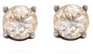 Bottega Veneta Cubic Zirconia And Sterling Silver Stud Earrings - Womens - Gold