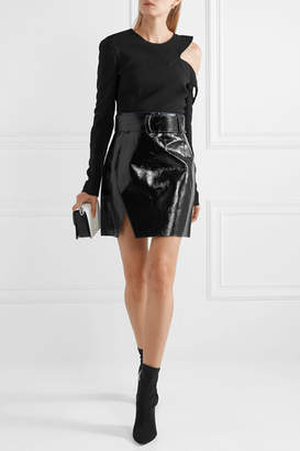 Thierry Mugler Glossed-leather Mini Skirt - Black