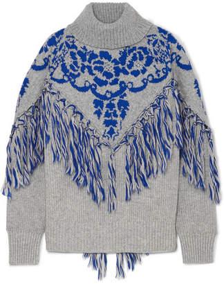 Sacai Tasseled Cape-effect Wool-blend Jacquard Turtleneck Sweater - Gray