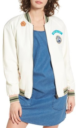 Women's Roxy Embroidered Bomber Jacket $99.50 thestylecure.com