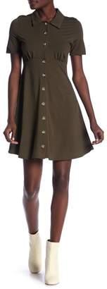 GOOD LUCK GEM Short Sleeve Button Dress