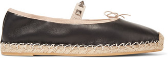 Valentino - Studded Leather Espadrilles - Black $595 thestylecure.com