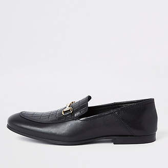 River Island Black leather fold down heel snaffle loafers