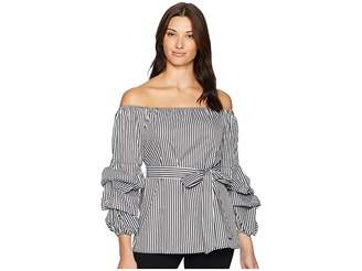ECI Off the Shoulder Balloon Sleeve Pin Striped Top Women's Clothing