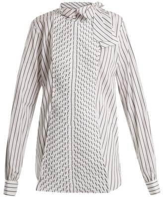 J.W.Anderson Pleated Panel Striped Cotton Shirt - Womens - White Black