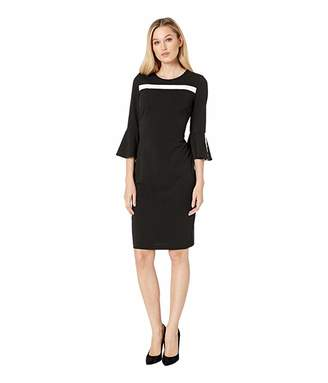 Calvin Klein Crepe Sheath with Piping