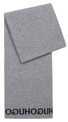 HUGO Boss Knitted scarf repeat reverse jacquard logo One Size Open Grey