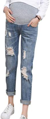 Xinvision Maternity Elastic Adjustable Tassel Ripped Jeans Pregnancy Pants