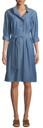 Tory Burch Ruffle-Placket Chambray Shirtdress