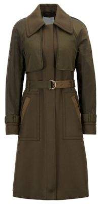 BOSS Hugo Trench coat in twill contrast fabric detail 2 Open Green