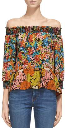 Whistles Mandy Off-the-Shoulder Silk Top $309 thestylecure.com