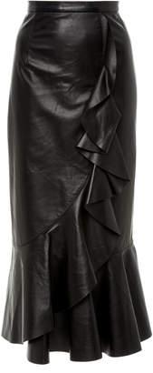 Michael Kors Ruffled Leather Midi Skirt