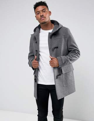 Asos Wool Mix Duffle Coat In Light Gray
