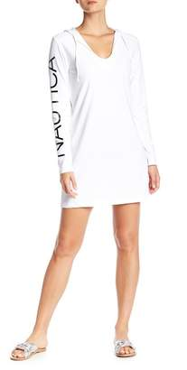 Nautica Graphic Long Sleeve Hooded Cover Up