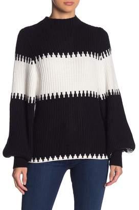 Andrea Jovine Colorblock Mock Neck Balloon Sleeve Sweater