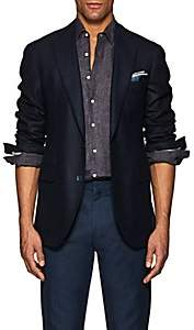 P. Johnson P. JOHNSON MEN'S CASHMERE TWILL TWO-BUTTON SPORTCOAT-NAVY SIZE 46 R