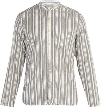 Oliver Spencer Striped grandad-collar cotton-blend shirt
