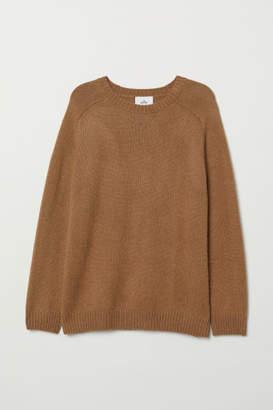 H&M Knit Wool-blend Sweater - Beige