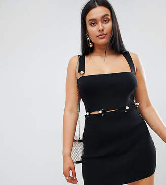 Missguided Pearl Detail Mini Dress