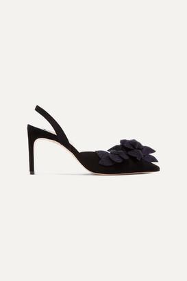Sophia Webster Jumbo Lilico Glittered Leather-appliquéd Suede Slingback Pumps - Black