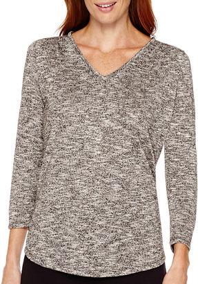 LIZ CLAIBORNE Liz Claiborne Long-Sleeve Marled Knit T-Shirt $34 thestylecure.com